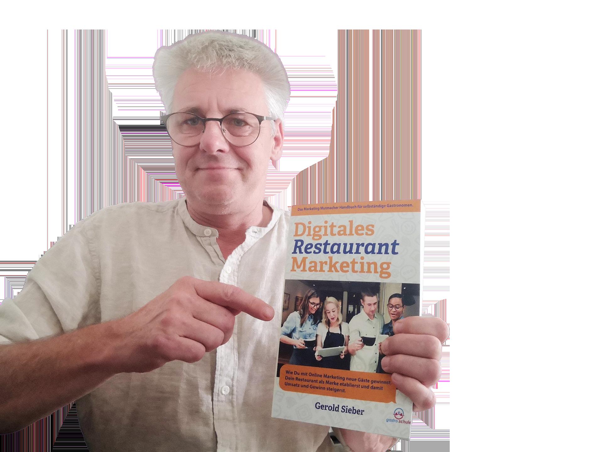 gerold mit buch digitales restaurant marketing